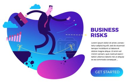 Illustration for Business infographics with illustrations of business situations. Businessman tightrope Walker goes through the abyss on the rope, keeps balance, balances. Business risk, hard work. - Royalty Free Image
