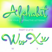 3D neon led alphabet font Logo W letter X letter with rounded shapes Matte three-dimensional letters from the tube rope green and purple  Tube Hand-Drawn Lettering Typography for Music Poster Sale Banner Advertising Multicolor Ultraviolet