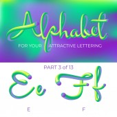 3D neon led alphabet font Logo E letter F letter with rounded shapes Matte three-dimensional letters from the tube rope green and purple  Tube Hand-Drawn Lettering Typography for Music Poster Sale Banner Advertising Multicolor Ultraviolet