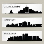 Vector illustration of city set USA