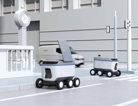 Photo pour Robots de livraison autonomes se déplaçant dans la rue. Image de rendu 3d. - image libre de droit