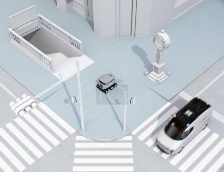 Photo pour Robot de livraison d'auto-conduite se déplaçant sur le bord de la route. Mini-fourgonnette de livraison passant le carrefour. Image de rendu 3d. - image libre de droit