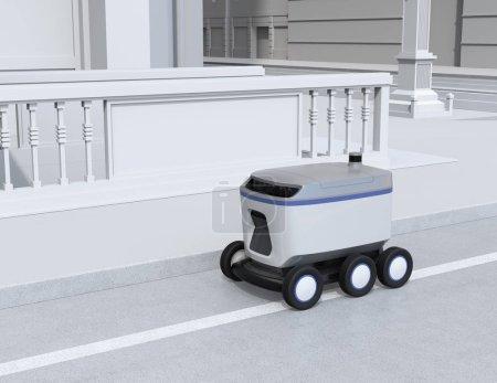 Photo pour Stationnement robot de livraison auto-conduite sur le bord de la route. Image de rendu 3d. - image libre de droit