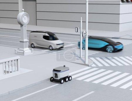 Photo pour Robot de livraison d'auto-conduite se déplaçant sur le bord de la route. Minifourgonnette de livraison et berline auto-conduite passant le carrefour. Image de rendu 3d. - image libre de droit
