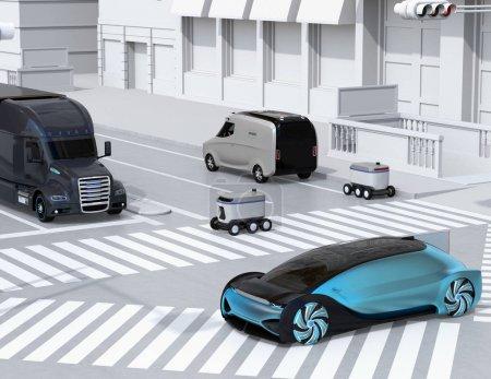 Photo pour Robot de livraison d'auto-conduite traversant la route avec un passage pour piétons. Stationnement de mini-fourgonnette de livraison sur le bord de la route. Image de rendu 3d. - image libre de droit