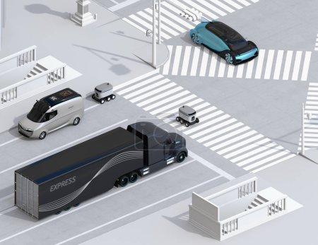 Photo pour Vue isométrique du robot de livraison d'auto-conduite traversant la route avec un passage pour piétons. Image de rendu 3d. - image libre de droit