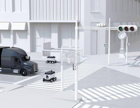 Photo pour Robots de livraison autonomes dans la rue. Un traversant la route avec un passage pour piétons. Image de rendu 3d. - image libre de droit