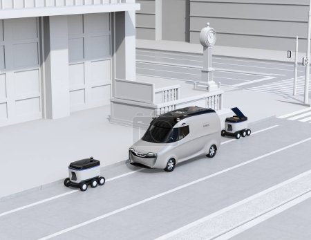 Photo pour Robots de livraison autonomes et fourgonnette de livraison dans la rue. Image de rendu 3d. - image libre de droit
