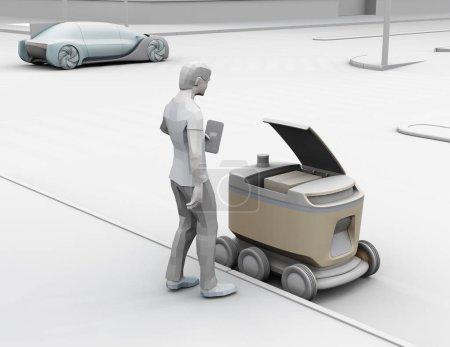 Photo pour Rendu d'argile de l'homme de modèle de polygone bas utilisant le déverrouillage de smartphone et ramassent le colis du robot de livraison d'auto-conduite. Le dernier concept d'un mile. Image de rendu 3d. - image libre de droit