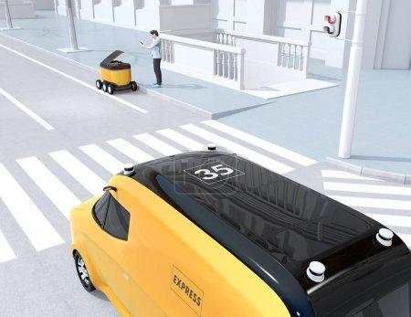 Photo pour Homme de modèle de polygone bas utilisant le déverrouillage de smartphone et ramassez le colis du robot de livraison d'auto-conduite. Le dernier concept d'un mile. Image de rendu 3d. - image libre de droit