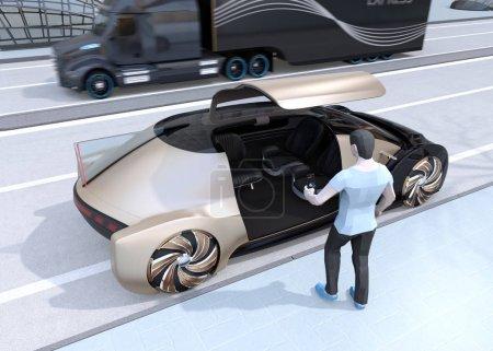 Photo pour Les gens de style polygone bas utilisent smartphone pour demander une voiture auto-conduite pour se déplacer. Concept de covoiturage. Image de rendu 3d. - image libre de droit
