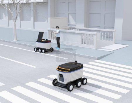 Photo pour L'homme de modèle de polygone bas ramassent le colis du robot de livraison d'auto-conduite. Le dernier concept d'un mile. Image de rendu 3d. - image libre de droit
