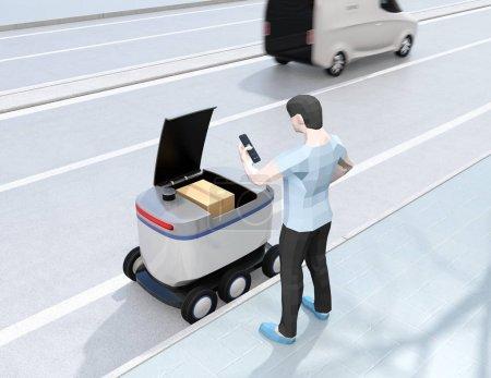 Photo pour Homme de modèle de polygone bas utilisant le smartphone pour déverrouiller la porte du robot de livraison d'auto-conduite. Le dernier concept d'un mile. Image de rendu 3d. - image libre de droit