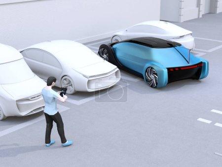 Photo pour Homme utilisant le smartphone au stationnement de voiture de commande à distance. Concept de système de stationnement automatique. Image de rendu 3d. - image libre de droit