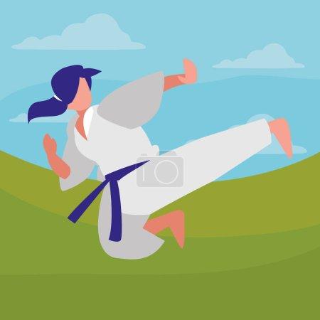 Woman practicing martial arts character vector ill...
