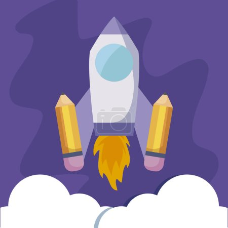 Photo for Rocket launcher with pencils vector illustration design - Royalty Free Image