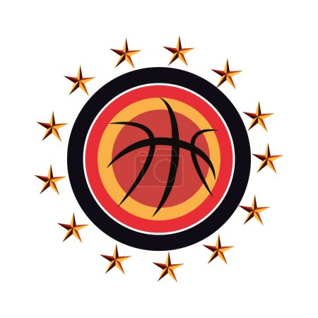 Photo for Flying basketball ball sport stars stamp vector illustration - Royalty Free Image