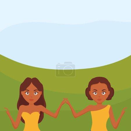 Illustration pour Belles et sensuelles femmes dans le paysage vectoriel illustration design - image libre de droit
