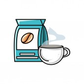 bag and cup coffee isolated icon