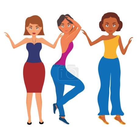 Illustration pour Femmes belles et sensuelles personnages vectoriel illustration design - image libre de droit