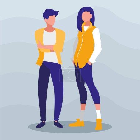 Illustration pour Jeune couple avec pose de modélisme vectoriel illustration design - image libre de droit