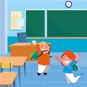 happy little school kids in the classroom