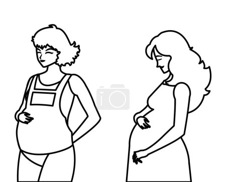 couple of beautiful pregnancy women characters