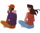 interracial couple seated back characters