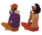afro couple seated back characters