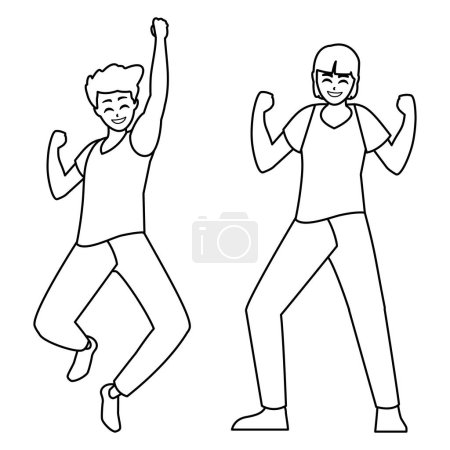 Photo for Happy young men celebrating characters vector illustration design - Royalty Free Image
