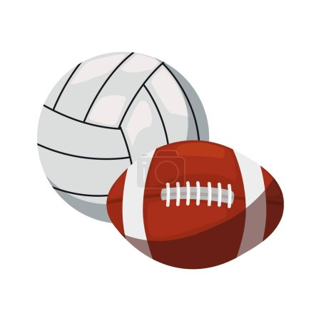 Photo for Volleyball and rugby ball sport vector illustration design - Royalty Free Image