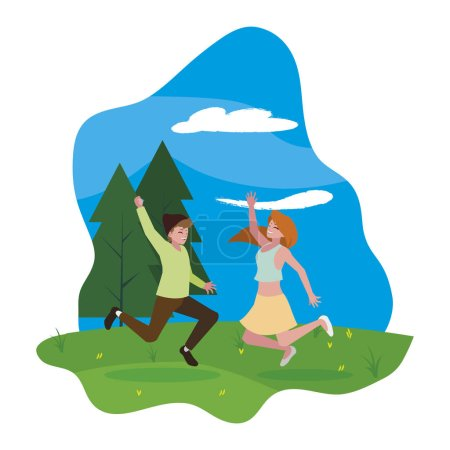 Photo for Happy young couple celebrating in the camp vector illustration design - Royalty Free Image