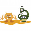 Funny monsters comic characters colorful vector il...