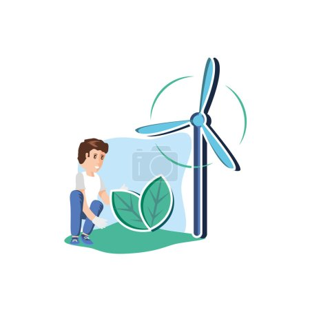 Illustration for Avatar man design, Sustainability eco friendly green recycle ecology renewable and solution theme Vector illustration - Royalty Free Image
