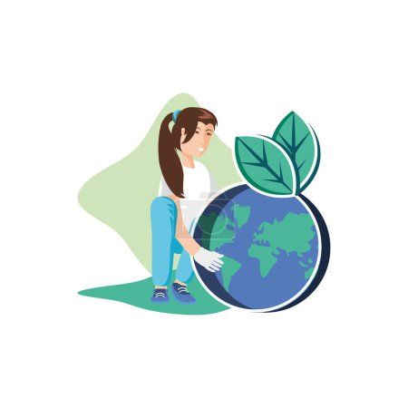 Illustration for Woman avatar and planet design, Sustainability eco friendly green recycle ecology renewable and solution theme Vector illustration - Royalty Free Image