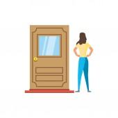 Door and avatar woman design