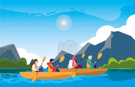 Illustration pour Campeurs dans la belle scène de paysage avec kayaks vectoriel illustration design - image libre de droit