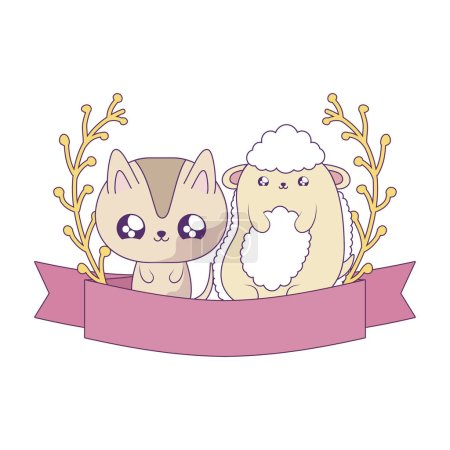 Cute sheep with cat animals baby kawaii vector ill...