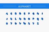 Color isometric font alphabet Vector illustration