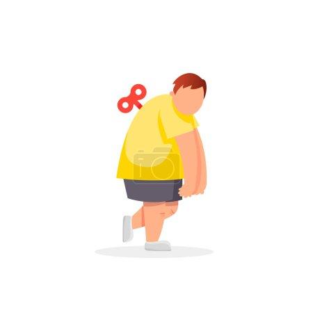 Tired fat man. Vector flat cartoon illustration