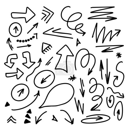 Illustration for Hand drawn infographic elements arrows circles and abstract doodle writing design vector set. - Royalty Free Image