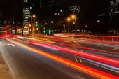 """Постер, картина, фотообои """"картина света трасс движения автомобилей в городе ночью"""""""