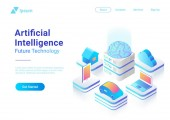 Isometric flat Artificial Intelligence digital Brain future technology colorful concept vector illustration design Laptop Electric Car Smartphone Brain House objects of AI