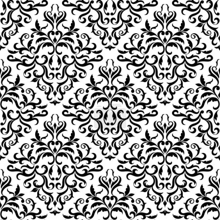 Illustration for Seamless pattern. Ornate Damask ornament on a white background. Ideal for textile print and wallpapers. - Royalty Free Image