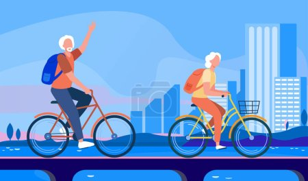 Photo for Senior couple riding bikes. Old man and woman cycling on city flat vector illustration. Active lifestyle, leisure, activity concept for banner, website design or landing web page - Royalty Free Image