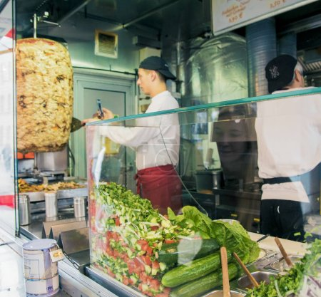 Photo for Berlin, Germany - March 10, 2019: Mustafa's Gemuese Kebab, most popular kebab in Berlin - Royalty Free Image