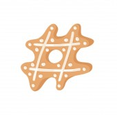 Cartoon vector illustration Ginger bread Cookies sign hashtag Hand drawn Christmas font Actual Creative Holidays bake symbol