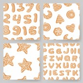 Set of cartoon vector illustration Ginger bread Cookies Hand drawn Christmas seamless pattern with font Actual Creative Holidays bake alphabet