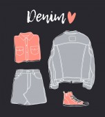 Hand drawn set of Jeans Wear Fashion vector background Actual illustration