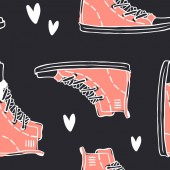 Hand drawn seamless pattern with Jeans Shoes Fashion vector background Actual illustration Denim Wear Original doodle style drawing Clothes Creative ink art work